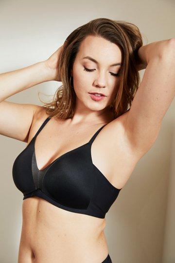 black lined smoothing bra matching panty