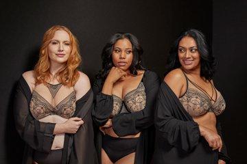 nude black lace bras