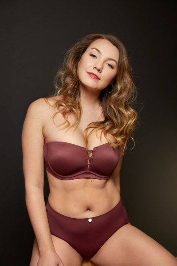red mahogany strapless with matching panty