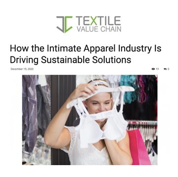 Textile Value Chain: Sustainability in intimate apparel